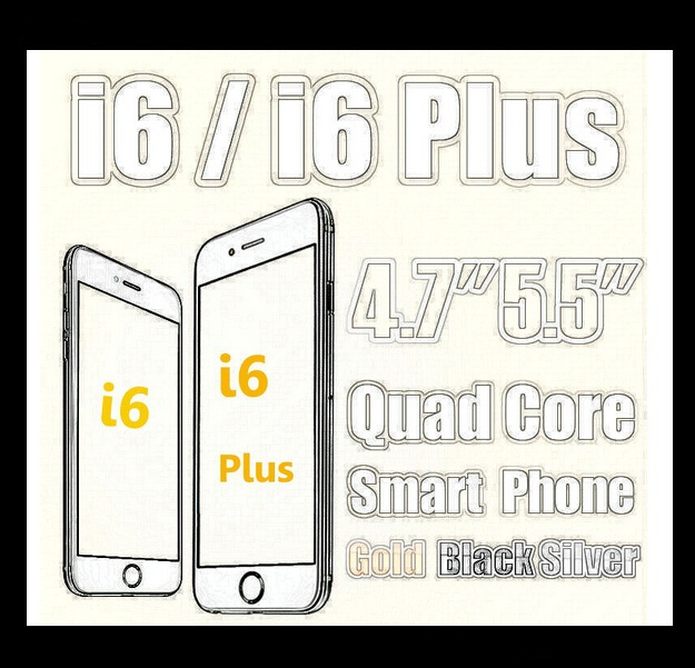 Big discount wholesale 015 new 3G goophone i6 phone quad core MTK6582 dual core MTK 6572 android phone i6 plus(China (Mainland))