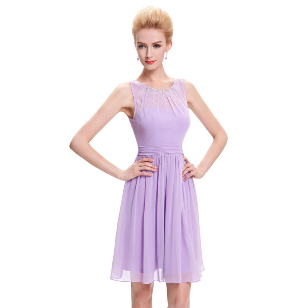 Cheap Short Bridesmaid Dresses Under 50 Knee Length Chiffon Formal Dress Wedding Purple Lilac Bridesmaid Dresses 2017 Party Gown(China (Mainland))