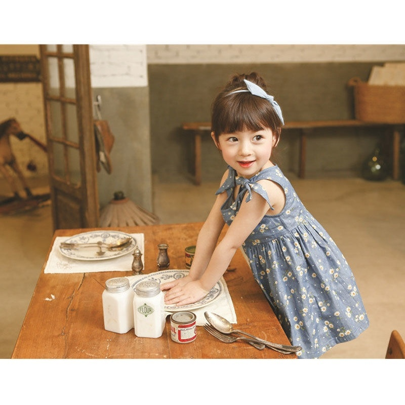 Baby Girls Bonnie Cute Small Floral Vest Dress Summer Sweet Daisy Dot Printed Tied Toddlers StorePromotion Summer Dresses BD0007(China (Mainland))