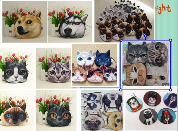 2015 new coin purses wallet ladies 3D printing cats dogs animal big face change fashion cute small zipper bag for women(China (Mainland))