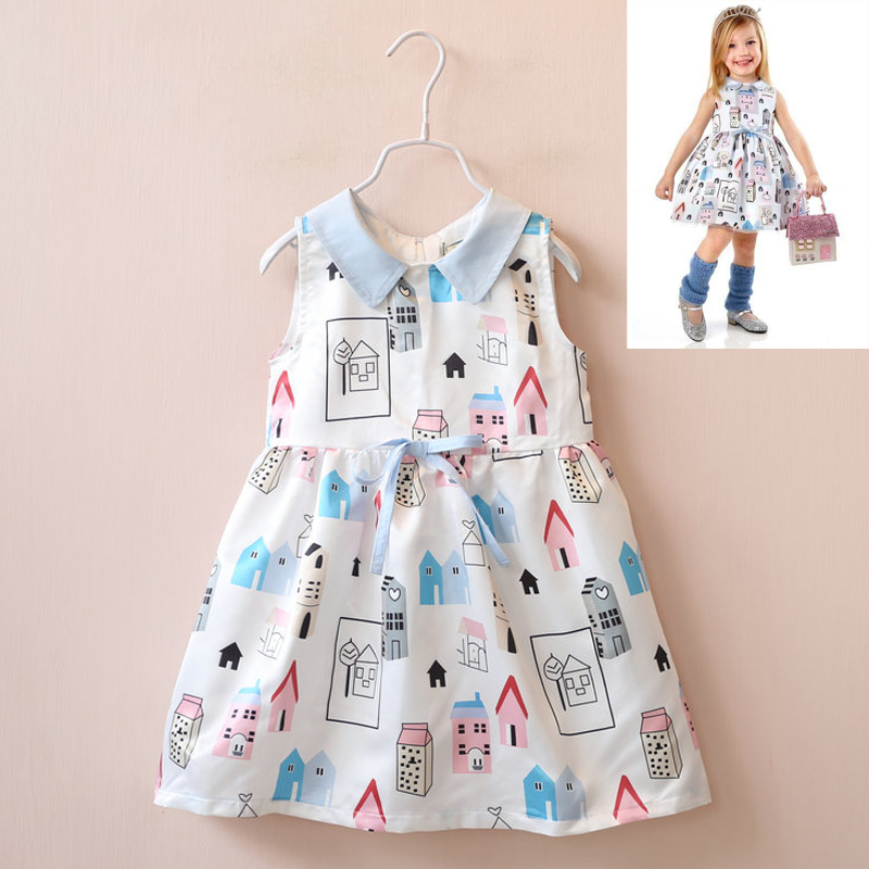princess dress  Childrens baby Small lapel house printed sleeveless dresses Brand wholesale <br><br>Aliexpress