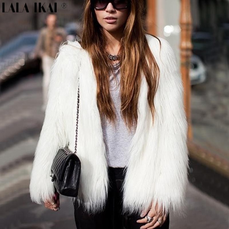 Plus Size 4XL 5XL 6XL 7XL Faux White Fur Coat Women Winter Customized Synthetic Furs Coats Ladies Full Sleeve Overcoats 204-5(China (Mainland))