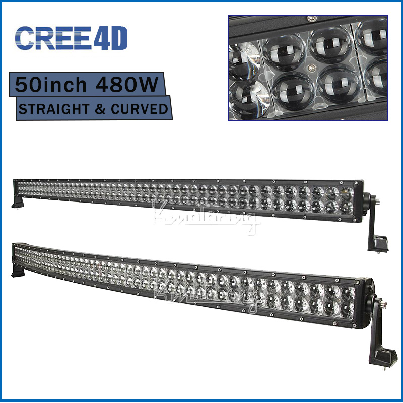 Curved/Straight CREE 480W 50'' 4D LED Light Bar Offroad Combo Beam Work Light 4X4 4WD SUV ATV Trailer Truck Auto Lamp DC 12V 24V(China (Mainland))