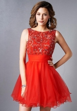 Sexy Red Short Mini Cocktail Dresses 2016 Crystal Beaded Lace Backless Coctail robe de Cocktail Party Dress vestidos de coctel(China (Mainland))