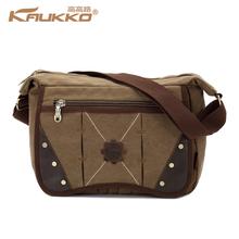 Kaukko Hasp Fashion Canvas Large Capacity Leather Bag for Student School bag Business Shoulder Bag