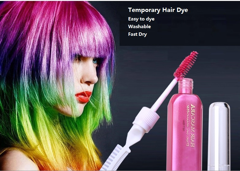 3 piece hair color & TOUCH-UP mascara chalks-for-the-hair 12 colors Non-toxic temporary hair dye with comb(China (Mainland))