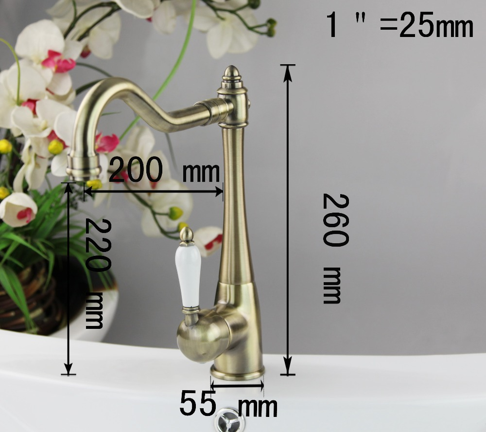 69 OFF Construction Real Estate Ceramic Handle Antique Brass Bathroom Kitchen Basin Sink Vessel Swivel Mixer