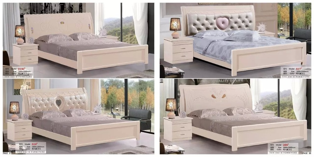 modern european solid wood bed Fashion Carved leather french bedroom set furniture king size HC0040(China (Mainland))
