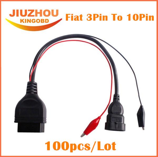100pcs DHL Free Fiat 3 Pin Alfa Lancia to 16 Pin OBD2 obd-II connector Adapter Auto Car Cable obd fiat 3pin Diagnostic Cable(China (Mainland))
