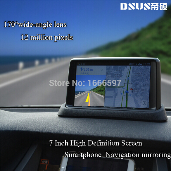 DSUS 2015 new 7 inch 1080P HD smart phone GPS navigation mirroring GR-7 car DVR/rear view camera /Wifi display function(China (Mainland))
