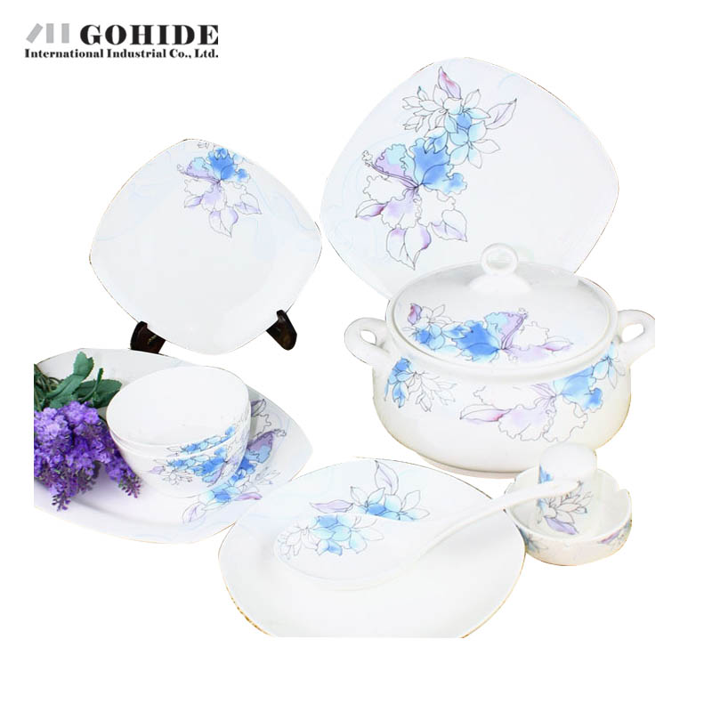 Gohide Arts Chinese Style Tableware Ceramic Avowedly 56pcs/Sets Quality China Dinner Set Square Full Set Kitchen Tools(China (Mainland))