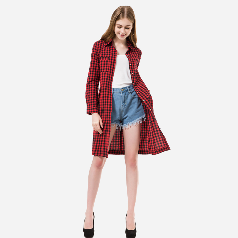 Dioufond 2016 New Long Coat Women Trench Turn-down Collar Full Sleeve Trench Single Breasted Button Plaid Trench With Pockets(China (Mainland))