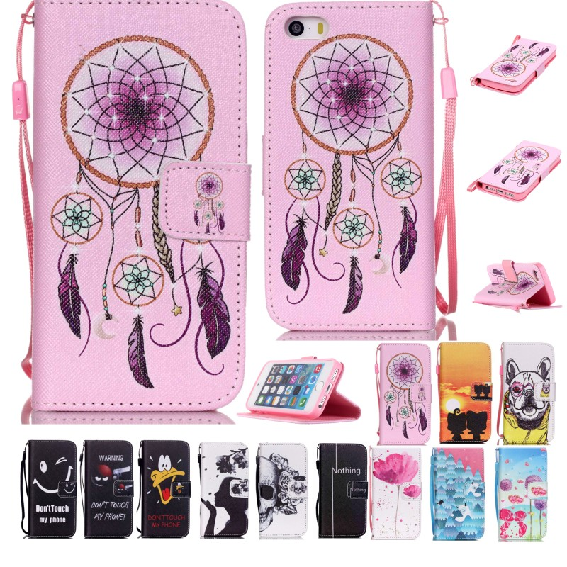 High quality Painted Leather Flip Skin Cell Phone Cover Wallet Pouch With Card Slot Magnetic Clasp Case For Apple iPhone 5G/5S(China (Mainland))