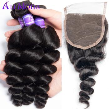 4 bundles Malaysian loose wave human hair weave with closure Best Malaysian virgin hair loose wave, 6A Top Swiss Lace Closure