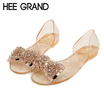 HEE GRAND Women Sandals 2017 New Summer Bling Bowtie Fashion Peep Toe Jelly Shoes Woman Crystal Flats Size Plus 36-40 XWZ722