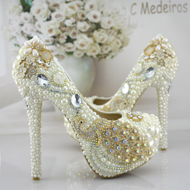 Phoenix Rhinestone Prom Party Shoes Womens Modeling Event Shoes Function Beautiful High Heels Pearl Bridal Wedding Dress Shoes(China (Mainland))