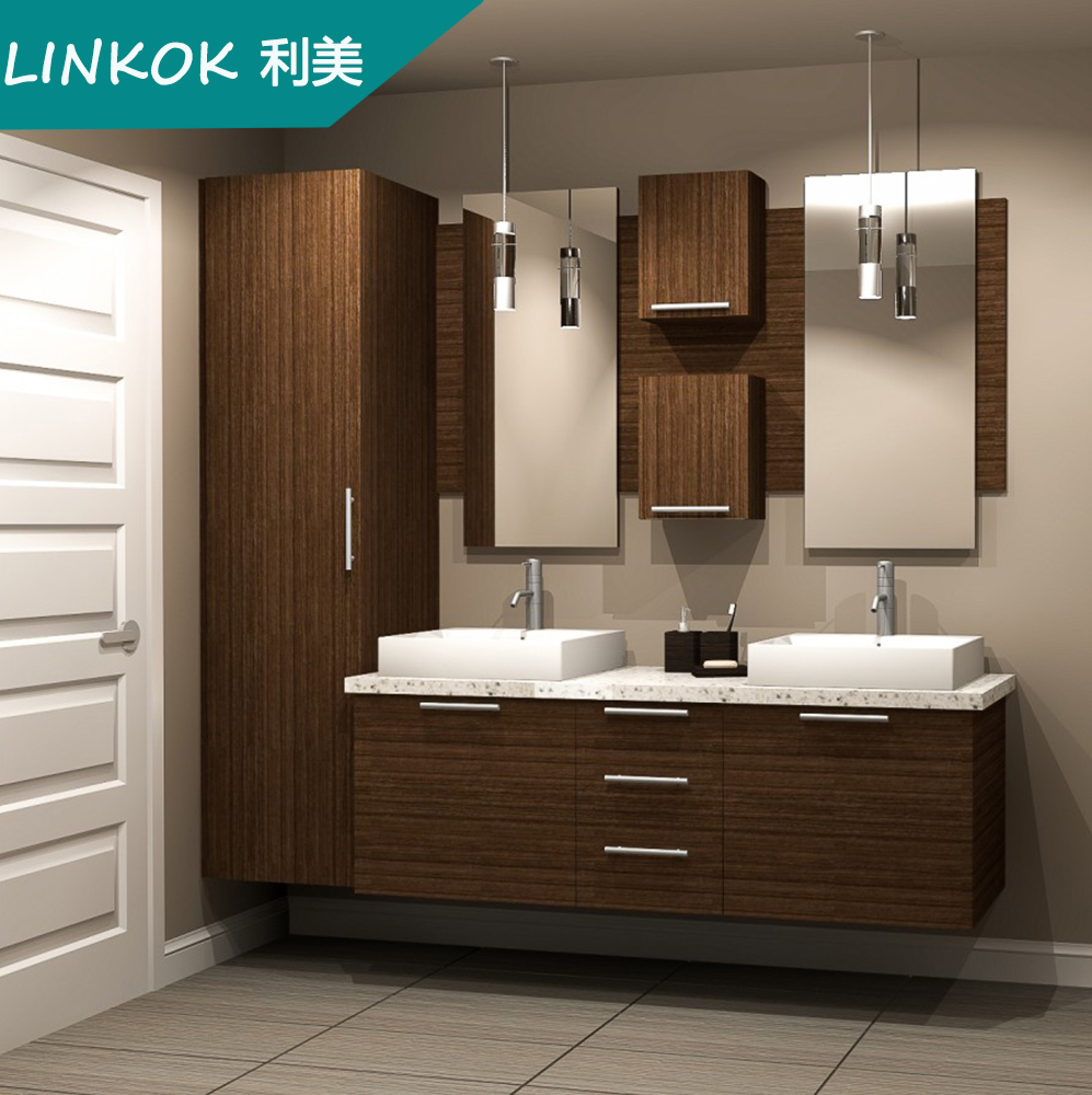 Linkok furniture 72 china custom sliver mirror custom mdf for Floor standing mirrored bathroom cabinet