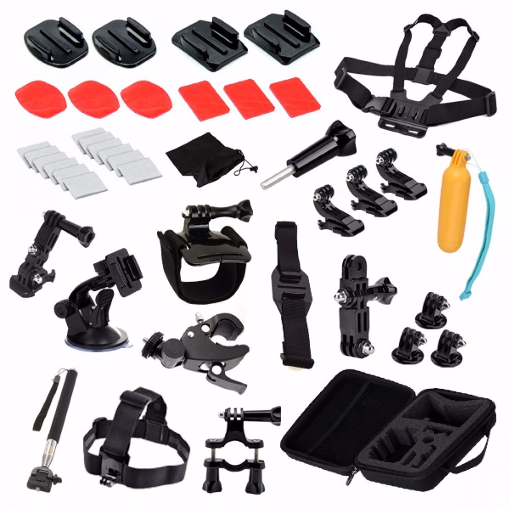 gopro Accessory 42 in 1 Set+Kit Chest +Head Strap+Floating Grip+Monopod+Case Chest Strap for GoPro Hero 3 3+ 4 session xiaomi yi
