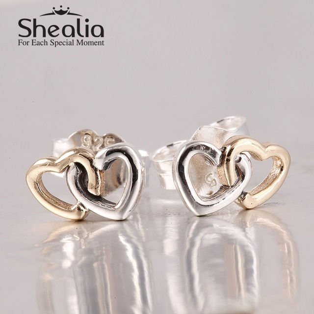 925 чистое серебро в форме сердца серьги-гвоздики с 14 k настоящее сплошной золото в форме сердца серьги подходит женщины ювелирные изделия аксессуары SH0598