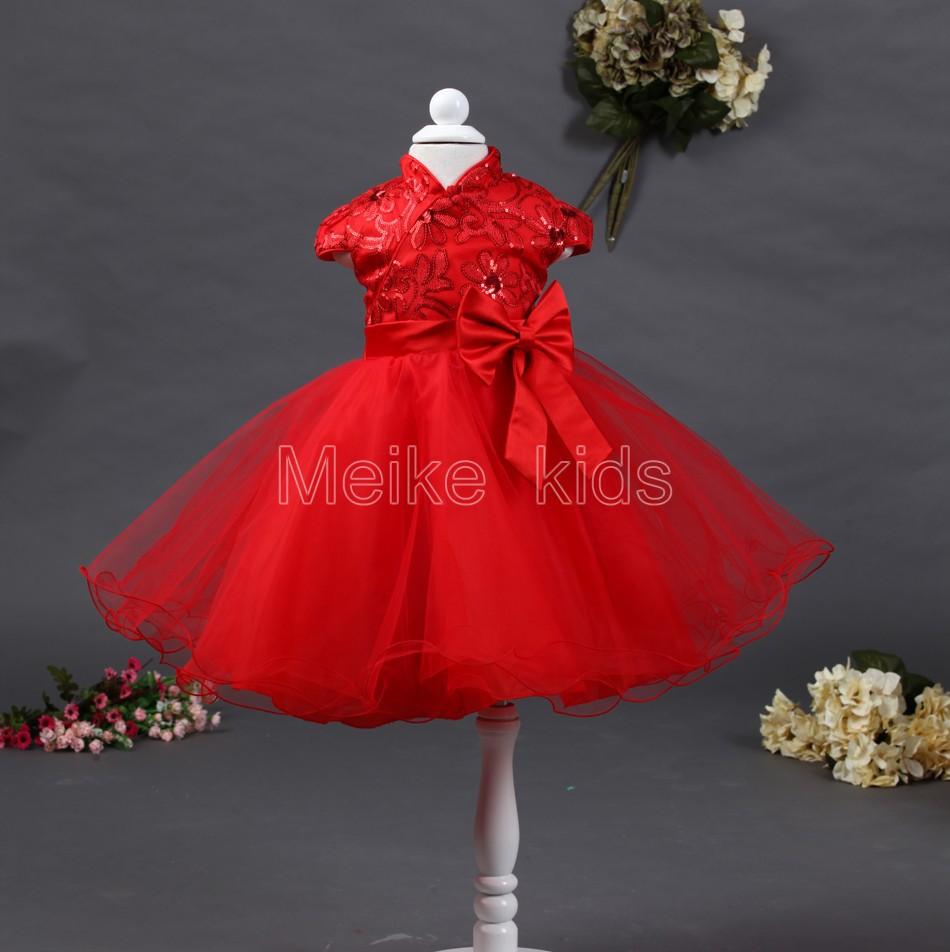 wholesale 2014 New Korean version of the cheongsam girl mesh big bow party dress 6pcs\lot TY-X06(China (Mainland))