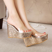 Sparkling Sequined Sexy Transparencies High Sloped With Waterproof Women Sandals 2015 Summer Best Selling Discount Cheap(China (Mainland))