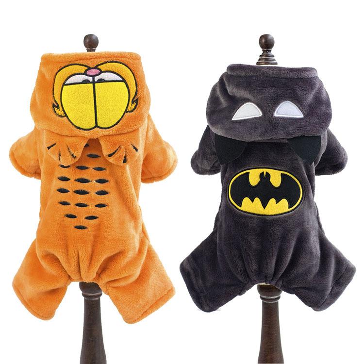 Winter warm Fleece small dog coat clothes jacket funny dog pet Garfield & Batman superhero Costume Coat Jumpsuit jumpers Hoodie(China (Mainland))