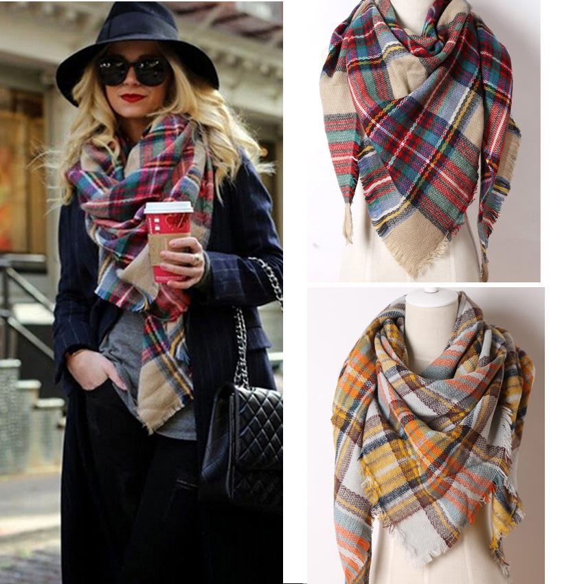 ZA Brand New Design Cashmere Woven Triangle Scarf Plaid Fashion Scarf Pashmina Warm in Winter Shawl