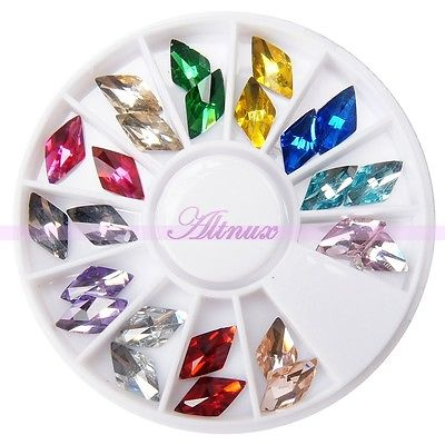 Free Shipping Bling Diamond Shape Plat Back Stud Rhinestone Gems Nail Art Salon Decor Wheel 2015 New Arrival Promotion(China (Mainland))