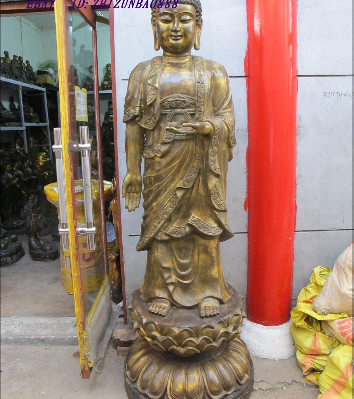 "79""Tibet old Temple wait upon Bronze gild Lotus Amitabha tathagata Buddha revere(China (Mainland))"