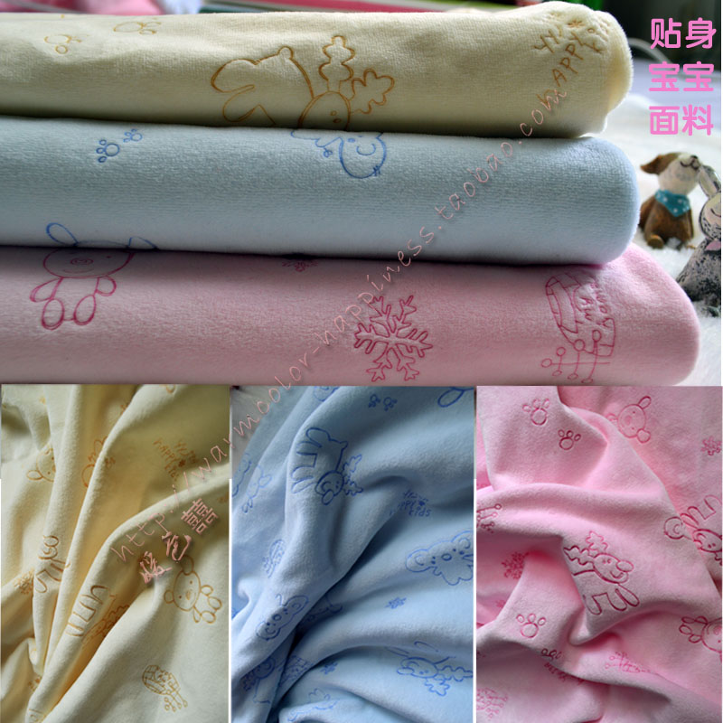 1 meter printing deer pattern fabric super soft animal blue velboa for DIY sewing Stuffed toys material Warp knitting velvet(China (Mainland))