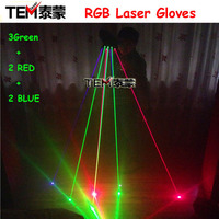 Free Shipping RGB Laser Gloves With 7pcs Laser 3pc Green +2PCS Red +2PCS Violet Blue Stage Gloves For DJ Club Party Show
