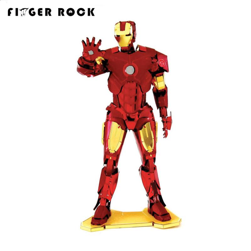 Finger Rock Colors Iron Man Metal 3D Puzzle The Avengers War Machine Model DIY Stainless Steel Jigsaw Toys Gift for Children(China (Mainland))