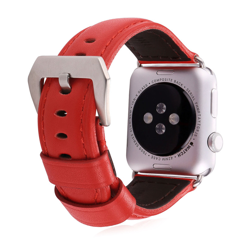 Leather Watch Strap High Quality Genuine Leather Watchband For Applewatch 38MM/42MM Red Watch Band Women 2016 New APB2220(China (Mainland))