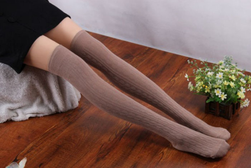 Free Shipping Autumn Winter 5 Colors Cotton Blends Women Girls Knit Over Knee Thigh Stockings Spiral