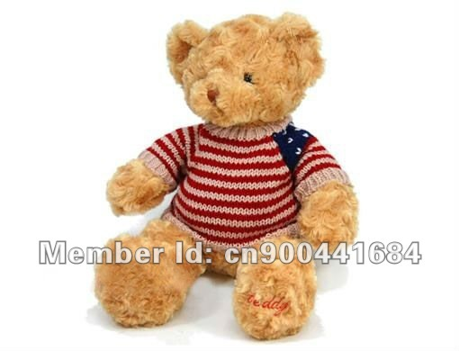 "Sale 18"" Stuffed Teddy  Bears In Nice Sweater Soft Bear Plush Toy Free Shipping"