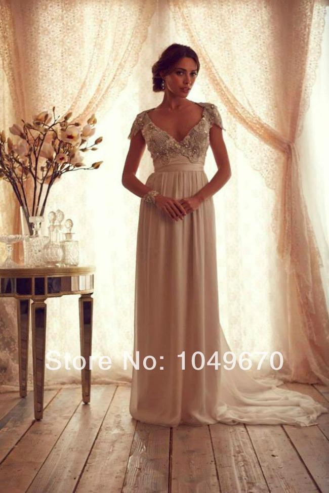 Princess 2014 V Neck Beaded Wedding Dresses Short Sleeves