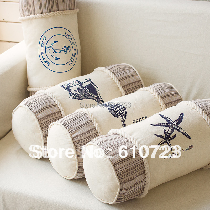 hot sales,Mediterranean style ocean hold pillow cushion for leaning on the cylindrical shell household decorative fabric(China (Mainland))