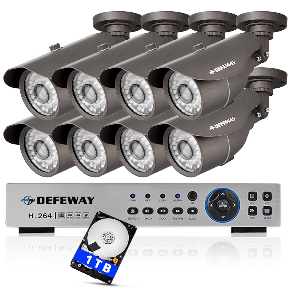 1200TVL 8ch video surveillance system 1080p 720P CCTV onvif NVR DVR KIT 8pieces HD Outdoor security camera+1TB HDD recorder(China (Mainland))