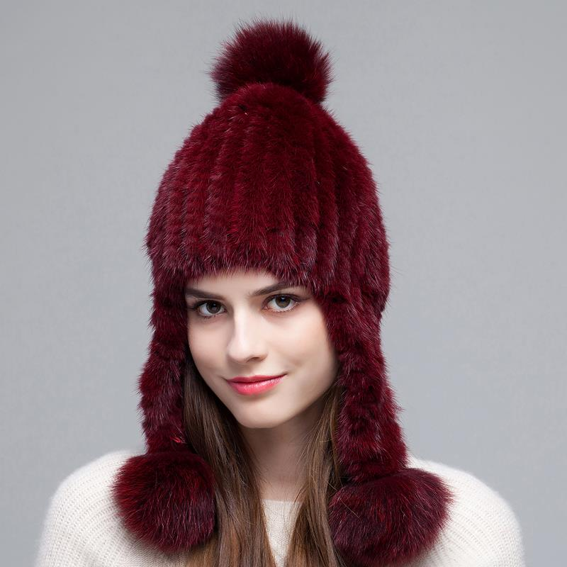 Фотография 2016 New Arrival Knitted Mink Fur Hat Women