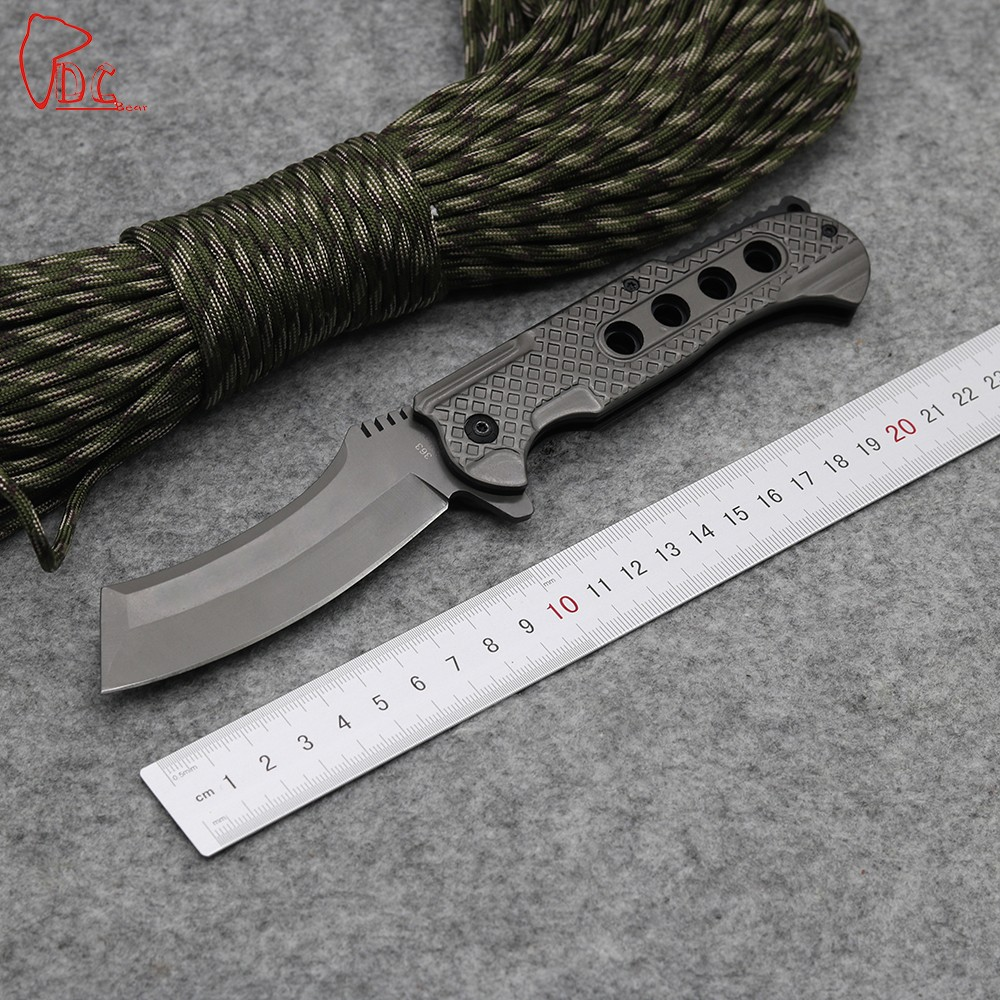 Buy Dcbear NEW Tactical Knife Good Quality 363 Folding Knife 440C Steel Blade Survival Camping Knives Aluminum Handle Outdoor Tools cheap
