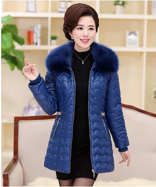 XL-5XLplus size new Winter Middle Age Women Down Padded Coat Slim Long Fur Collar Cotton Jacket PU outwear T806
