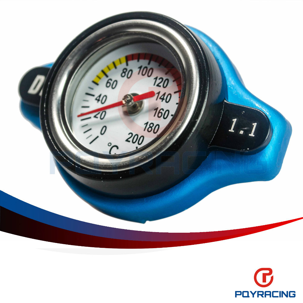 PQY STORE-D1 Spec RACING Thermost Radiator Cap COVER + Water Temp gauge 1.1BAR Cover For Honda.SUZUKI PQY-DRC11