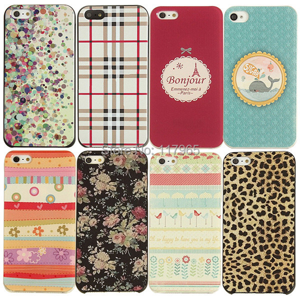 high quality charming attractive new floral stripes Painted Painting Hard Phone Case Cover For iPhone 4 4s 5 5s EC179/EC180(China (Mainland))