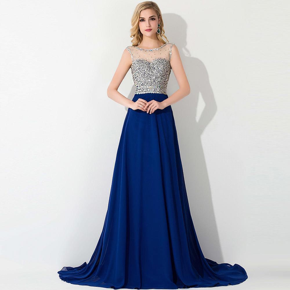 robe de soiree luxury beaded royal blue evening dresses 2015 elegant illusion neck chiffon long. Black Bedroom Furniture Sets. Home Design Ideas