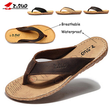 Z.suo male summer 100% genuine leather flip flops breathable waterproof crazy horse leather beach slippers plus size 45 46 47(China (Mainland))