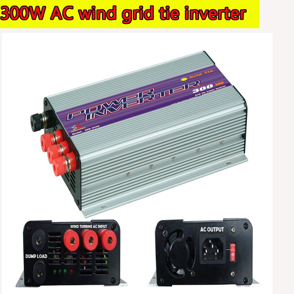 300W Grid Tie Inverter Pure Sine Wave MPPT Inverter for 3 Phase AC Output Wind Turbines with Built-in Dump Load Controller NEW(China (Mainland))