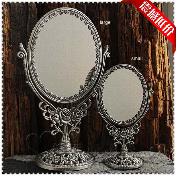 2X magnifying antique double-face dressing table desktop standing retro tin metal makeup cosmetic mirror large J018(China (Mainland))