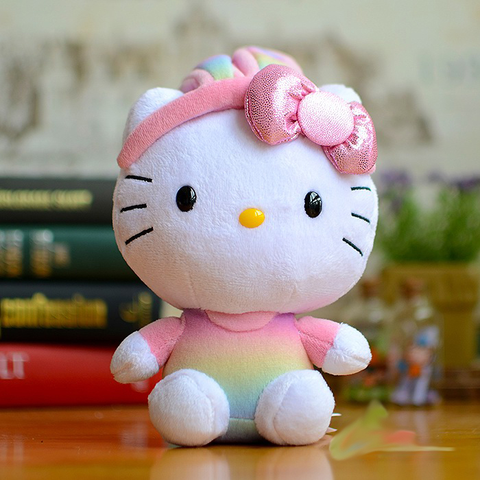 TY Colorful Hello Kitty Plush Toys Kawaii Dolls Rabbit Kitty Cat Kids Cute Cartoon Stuffed Animals Girls Toy Children Gifts(China (Mainland))