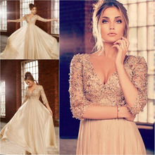 2014 Design New Arrival A-line Chiffon Long Prom Dresses Elegant Beautiful Deep V-neck Beaded 3/4 Sleeves Women Dress Evening