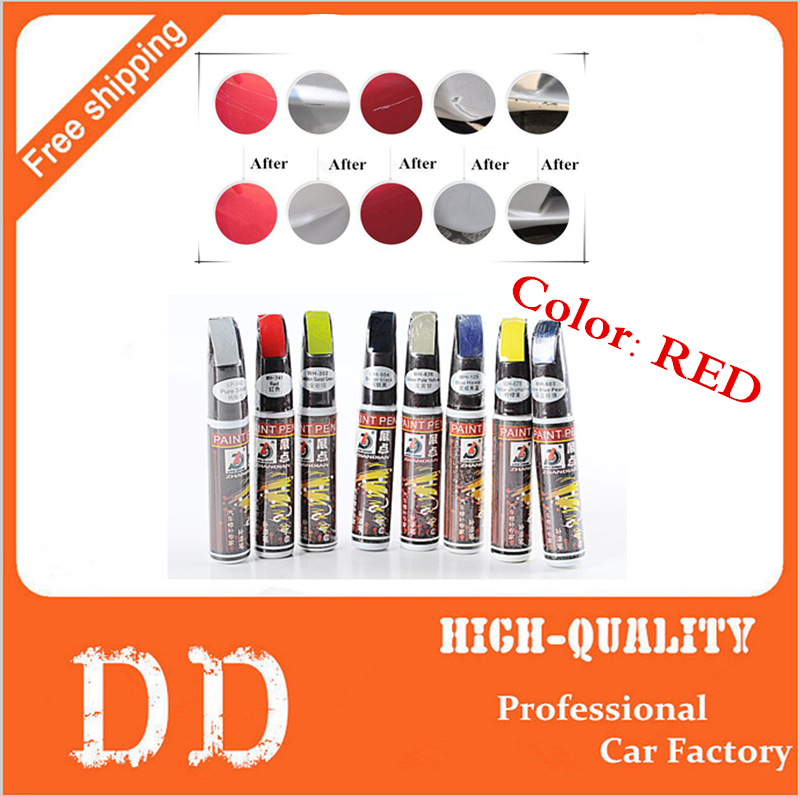 1pc Hot Sale 12ml Red Professional Car Paint Repair Pen New Waterproof Clear Car Scratch Remover Painting Pens(China (Mainland))